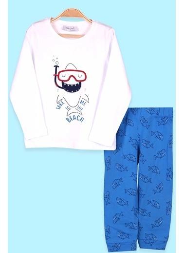 Breeze Erkek Çocuk Pijama Takımı Köpek Balığı Desenli Beyaz (1.5-4 Yaş) Beyaz